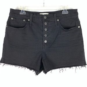 Medewell high waist button fly black jean Boyshort